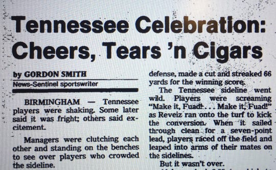 This headline ran in the Knoxville News Sentinel on Oct. 16, 1983, after Tennessee beat Alabama 41-34 in Birmingham.