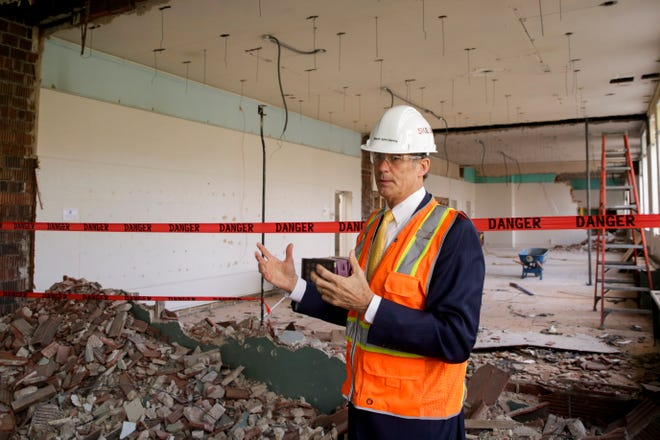 West Lafayette Mayor John Dennis speaks inside the Morton Community Center, Wednesday, Oct. 16, 2019 in West Lafayette. The community center will be renovated to become the new West Lafayette City Hall.
