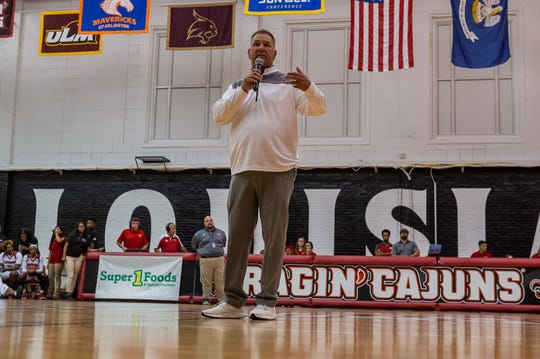 Coach Garry Brodhead speaks at UL's Fan Jam in October. His Ragin' Cajuns play host to No. 14 Mississippi State on Monday.