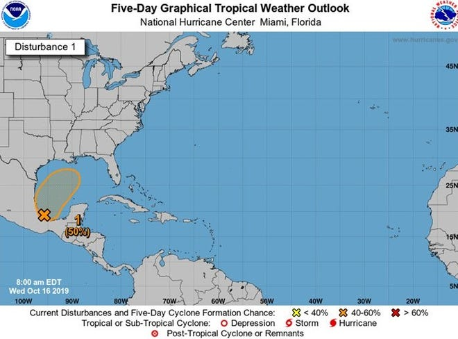 A low-pressure trough in the Gulf of Mexico now has a 50% chance of developing over the next five days.
