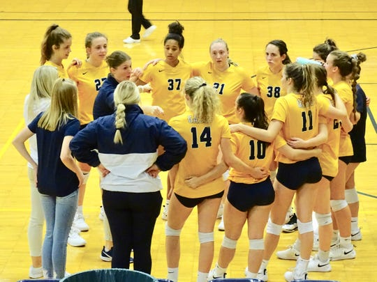 Lancaster volleyball coach Heather Ingram gives instructions to her team during a break in the action in the Gales' tournament win over Westland.