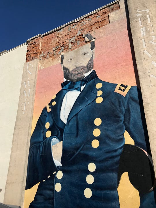 This is the Ohio Glass Museum's west wall will falling facade near the top. Museum board president Mike Shook said the mural of Gen. William T. Sherman will be demolished when workers repair the wall. The museum board recently bought the building at 124 W. Main St. from Visit Fairfield County Ohio.