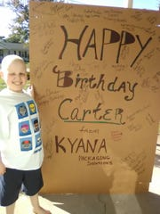 Carter Matthew Willett got a huge card for his 10th birthday, along with thousands of other cards. He's battling a rare form of cancer.