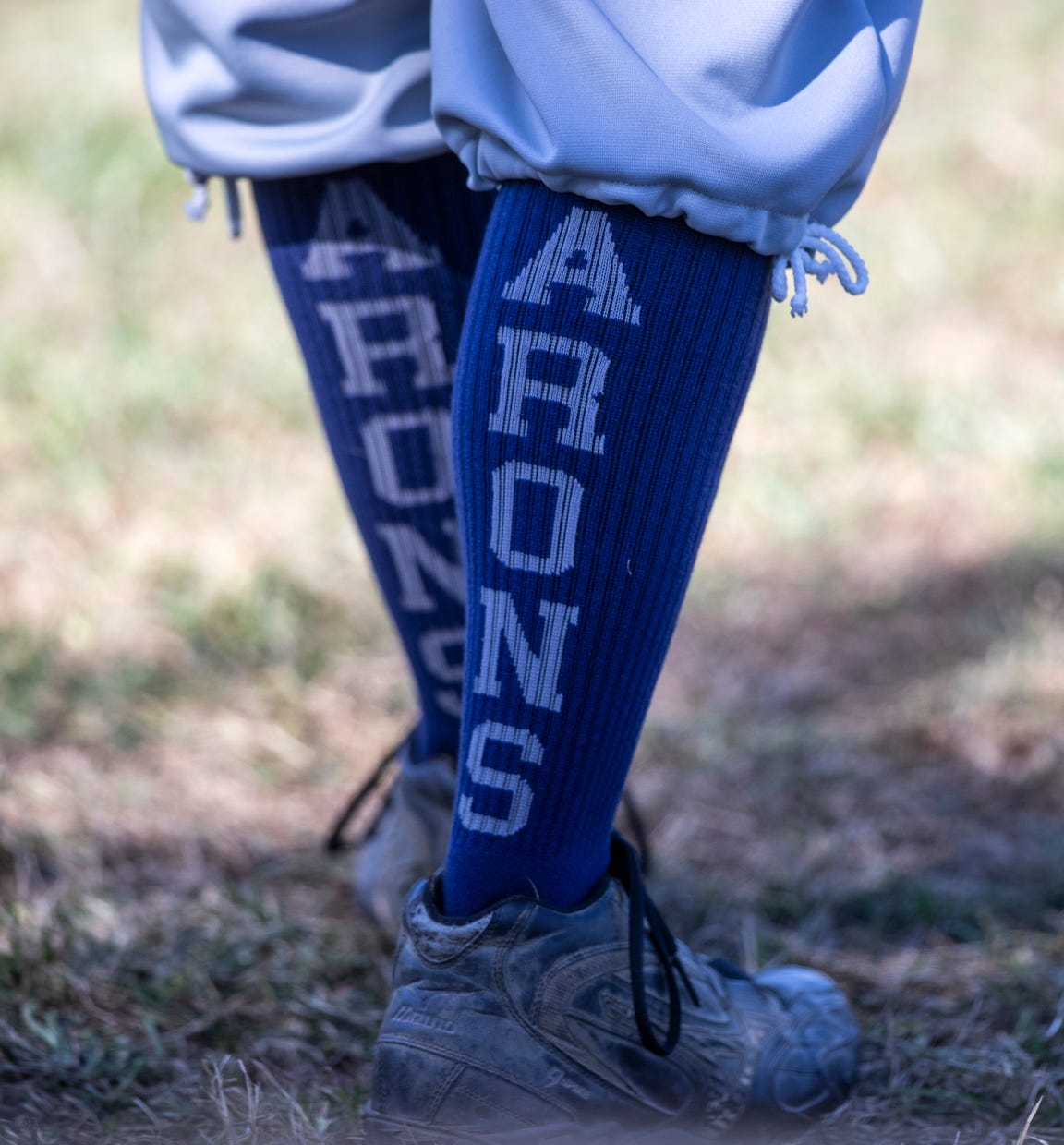 Bluegrass Baron's Dave Allen's socks spell out the name of his team. Oct. 13, 2019
