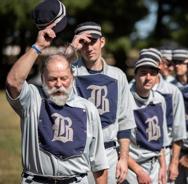 """Ben """"Pops"""" Clouse leads his Bluegrass Baron vintage baseball team against the Moscow (Ohio) Monarchs in the Commonwealth Cup. 13, 2019"""