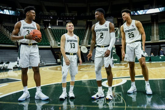 Michigan State freshmen, from left, Julius Marble, Steven Izzo, Rocket Watts and Malik Hall joke during media day on Tuesday, Oct. 15, 2019, at the Breslin Center in East Lansing.