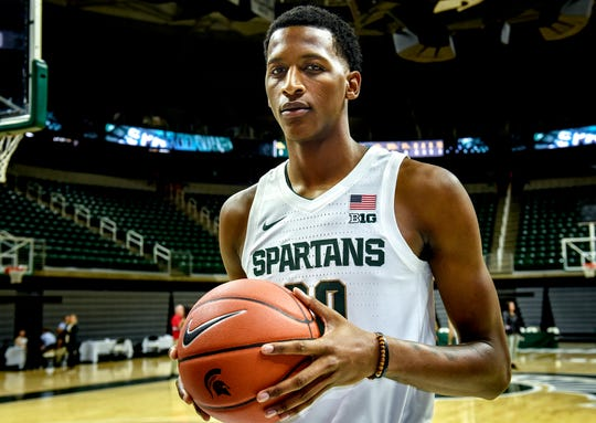 Michigan State's sophomore forward Marcus Bingham Jr., photographed during  men's basketball media day on Tuesday, Oct. 15, 2019, at the Breslin Center in East Lansing.