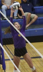 Lexington senior Audra Kocher served up an ace for the final point during Lady Lex's win over Ontario on Tuesday night.