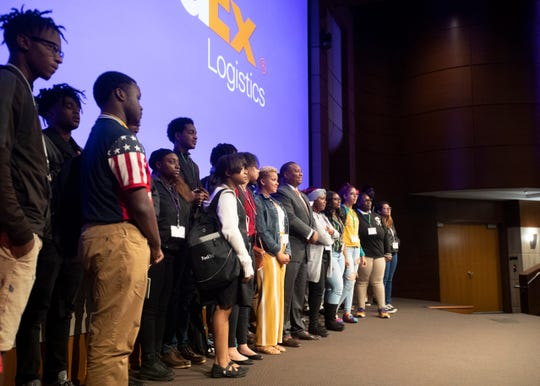 Shelby County Schools Superintendent Joris Ray poses for a photo with about 50 high school students at the first-ever FedEx Logistics Academy on Wednesday, Oct. 16, 2019.
