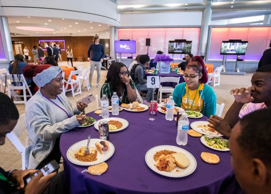 High school students enjoy lunch at the first-ever FedEx Logistics Academy on Wednesday, Oct. 16, 2019.