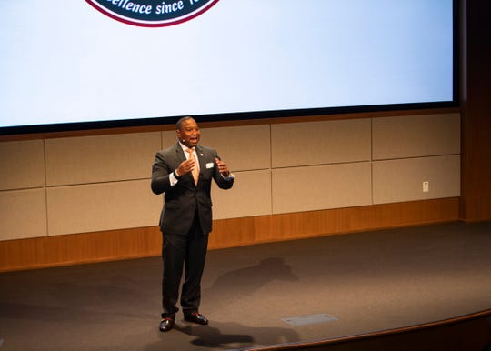 Shelby County Schools Superintendent Joris Ray speaks at the first-ever FedEx Logistics Academy.