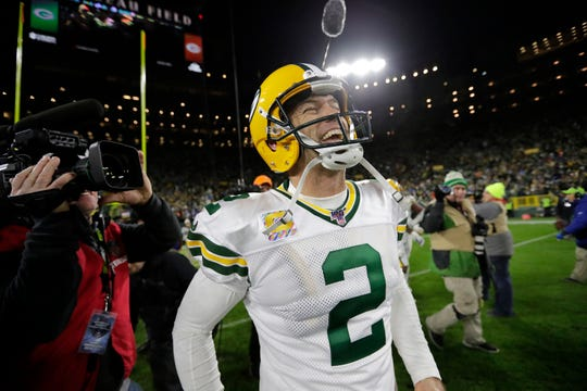 Green Bay Packers kicker Mason Crosby (2) celebrates his game-winning field goal against the Detroit Lions during their footbal game Monday, October 14, 2019, at Lambeau Field in Green Bay, Wis. Green Bay won 23-22.  Dan Powers /USA TODAY NETWORK-Wisconsin