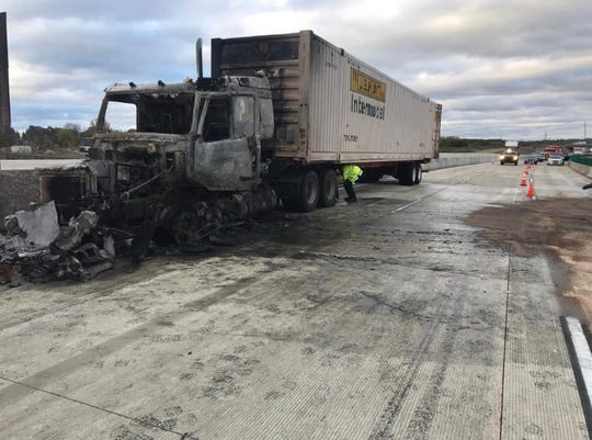 A burned semi blocks traffic on northbound I-94 Wednesday.