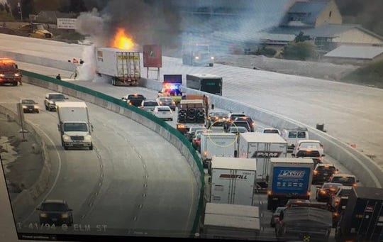 A semi fire blocks northbound lanes on I-94 near Highway G.