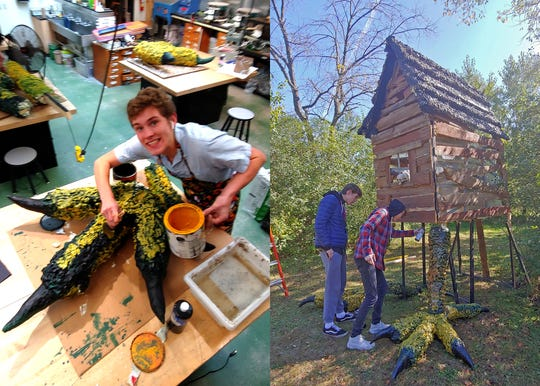 """KM Perform students work on the chicken hut for the set of the """"Baba Yaga"""" story that will be performed at Old World Wisconsin on Oct. 18-19 and Oct. 25-26."""