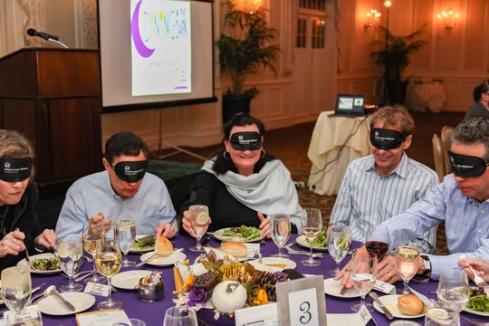Blindfolded guests will try to navigate through a three-course meal in darkness during the annual Dining in the Darkhosted byVision Loss Alliance of New Jersey at The Meadow Wood in Randolph on Oct. 24.