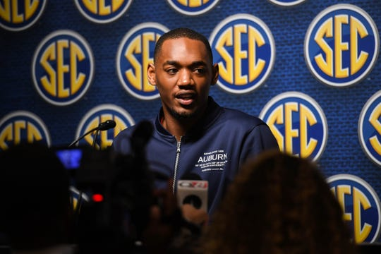 Auburn Austin Wiley speaks at the SEC Basketball Media Day at the Grand Bohemian Hotel on Oct. 16, 2019, in Mountain Brook, Ala.