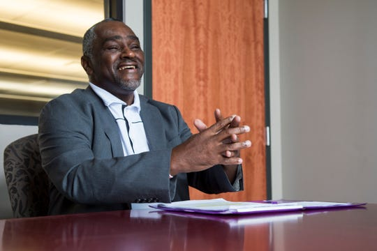 Democratic house district 74 candidate Rayford Mack is interviewed in Montgomery, Ala., on Wednesday, Oct. 16, 2019.