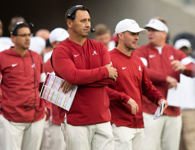 Alabama offensive coordinator Steve Sarkisian against Texas A&M at Kyle Field in College Station, Texas on Saturday October 12, 2019.
