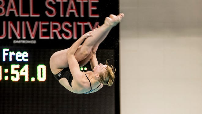 Senior diver Rachel Bertram competes for the Ball State Cardinals.