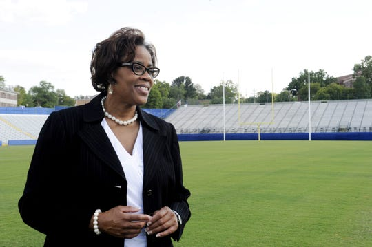 Tennessee State athletics director Teresa Phillips stands in Hale Stadium on campus on Sept. 11, 2012. Phillips, who's been at TSU in various roles for more than 30 years, will step down at the end of the school year.
