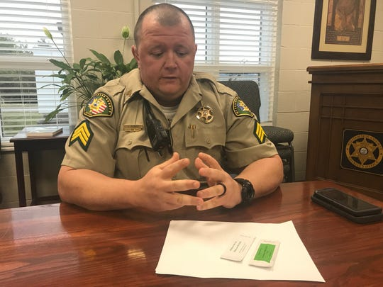 Sgt. Brant Pewitt, school resource officer supervisor for the Williamson County Sheriff's Office, displays a THC testing kit that all SROs carry to test vaping devices for the illegal drug.