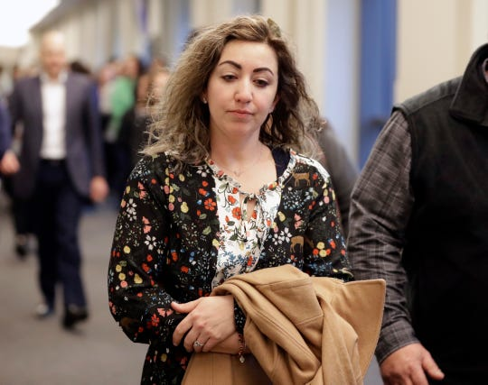 RaDonda Vaught arrives for a court hearing Wednesday, Feb. 20, 2019, in Nashville, Tenn. Vaught, a former nurse at Vanderbilt University Medical Center, is charged with reckless homicide after a medication error killed a patient.