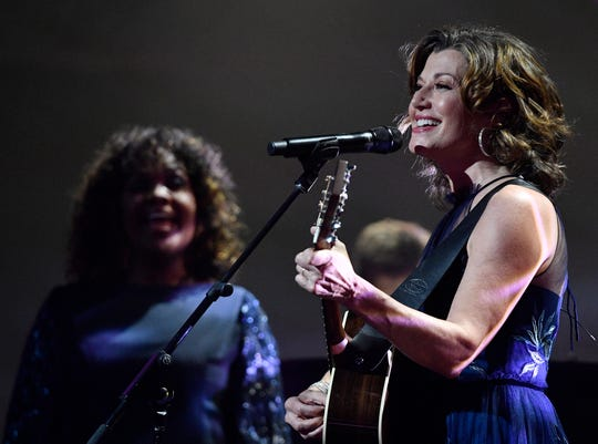 Amy Grant performs at the Gospel Music Association's 50th Annual Dove Awards at Lipscomb University's Allen Arena on Tuesday.