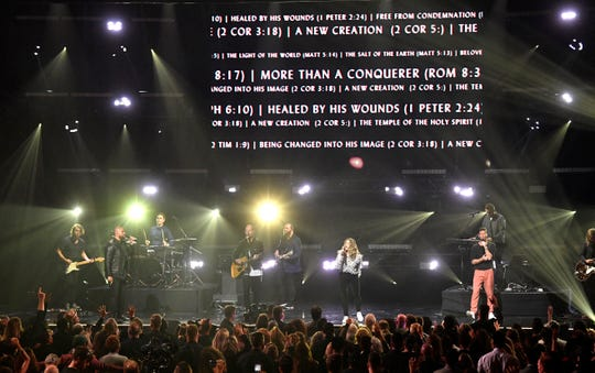 Hillsong Worship performs at the Gospel Music Association 50th Annual Dove Awards on Oct. 15 in Nashville.