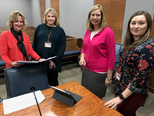 (Left) Williamson County Juvenile Court Judge Sharon Guffee, Williamson County Health Department health educator Lyndsey Wilhelm, juvenile court director Zannie Martin and health educator Brittany LaBorde have partnered to offer a vaping education class at juvenile court.
