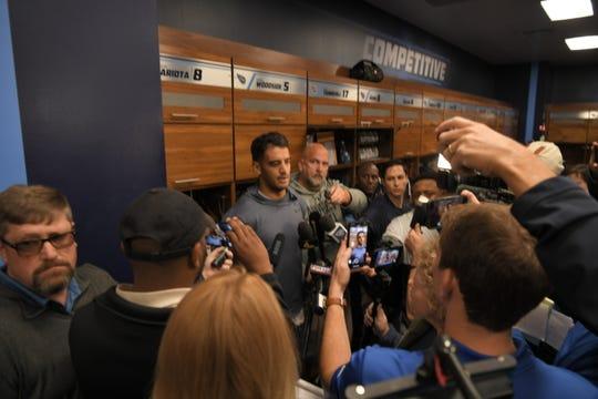 Titans quarterback Marcus Mariota talks to reporters Wednesday.