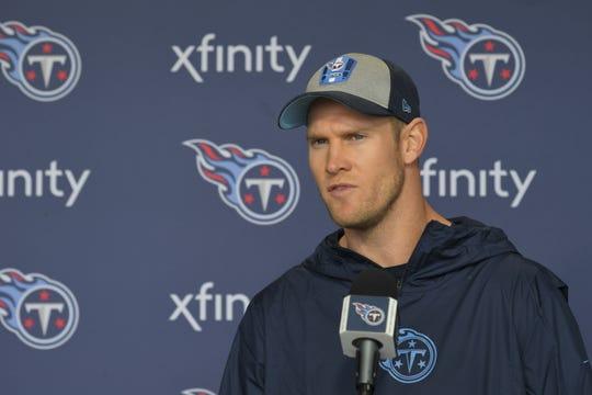Titans quarterback Ryan Tannehill talks to reporters on Wednesday.