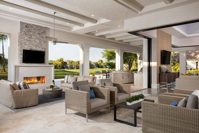 The Sophia III, one of five models  featured, has an exceptional outdoor living area with golf course views from within its 4,892 square feet under air.