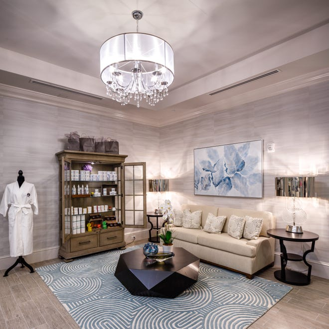 The lobby area of Vineyards Country Club's new, 15,000 square-foot Wellness Center and Spa, recipient of the CBIA's Sand Dollar Award for Interior Design of the Year – Clubhouse.