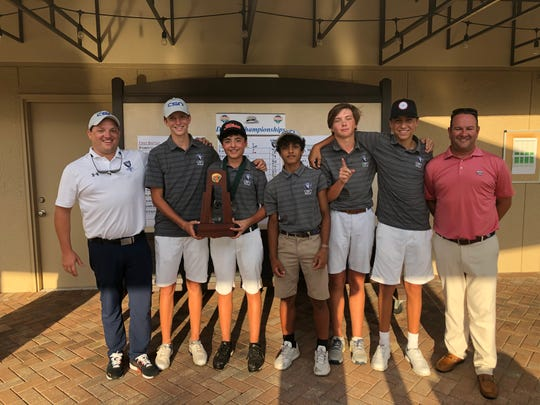 The Community School of Naples boys golf team won the Class 1A-District 12 title by two strokes at The Island Country Club on Wednesday, Oct. 16, 2019.