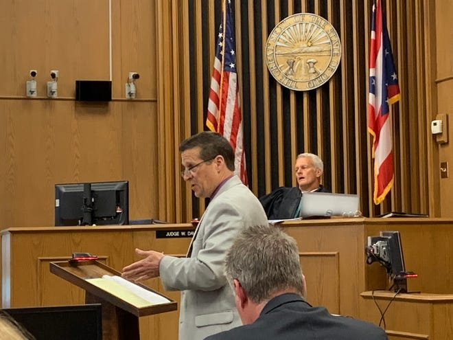 Defense attorney Robert Calesaric gives his closing statements during a trial in Licking County Common Pleas Court on Wednesday, Oct. 16, 2019.