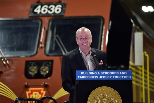 Governor Murphy delivers remarks at a Completion of Classroom Training Ceremony for seven NJ TRANSIT engineer trainees on October 15, 2019 in Kearny.