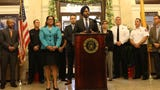 Paterson Mayor, André Sayegh and New Jersey Attorney General, Gurbir Singh Grewal, are shown at a press conference to announce grant funding to fight opioids. Wednesday, October 16, 2019