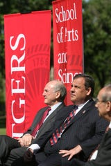 128029 --  Piscataway, New Jersey  --  June 16,   2014  --- Rutgers University breaks ground   Rutgers President Robert Barchi and Governor Chris Christie during speeches before the groundbreaking for a chemistry and chemical biology building in June of 2014.