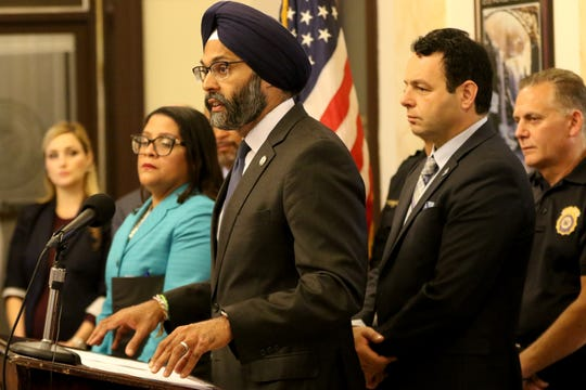 New Jersey Attorney General, Gurbir Singh Grewal, is shown at a press conference where he announced grant funding to pilot an opoid abuse program in Paterson.  Part of the funding will create an Opioid Response Team. Wednesday, October 16, 2019