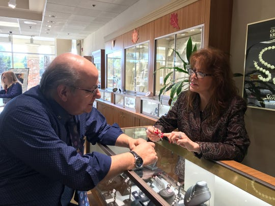 Glenn and Maria Parian at their Jewelry shop in the Franklin Crossing Mall, Franklin Lakes.