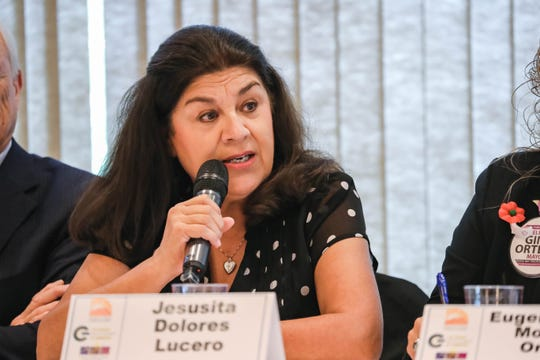 Mayoral candidate Jesusita Dolores  Lucero speaks at a In the Know Luncheon: Mayoral Candidate Panel in Las Cruces on Wednesday, Oct. 16, 2019.