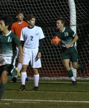After scoring Novi's first goal of the night James Ashworth (#19) ran to the back of the net, grabbed the ball and carried it with him to midfield.