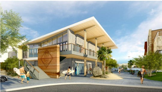 Rendering of the entrance to the planned DSRT Surf resort at Desert Willow in Palm Desert, by BAR Architects.