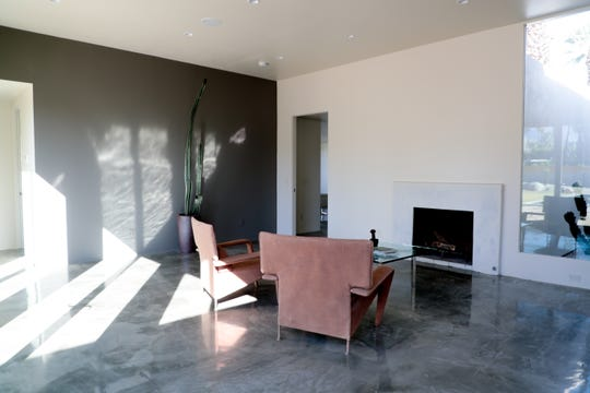 The newly restored living room of Albert Frey's Guthrie House is shown in Palm Springs, Calif. on Wednesday, October 16, 2019.