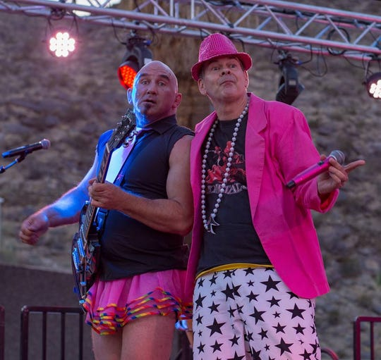Steve McKnight, left, and Chris Freeman of GayC/DC perform at Palm Springs Pride in Palm Springs, Calif., on Nov. 4, 2018.