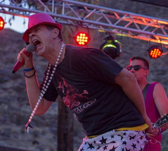 Chris Freeman performing with GayC/DC at Palm Springs Pride in Palm Springs, Calif., on Nov. 4, 2018.