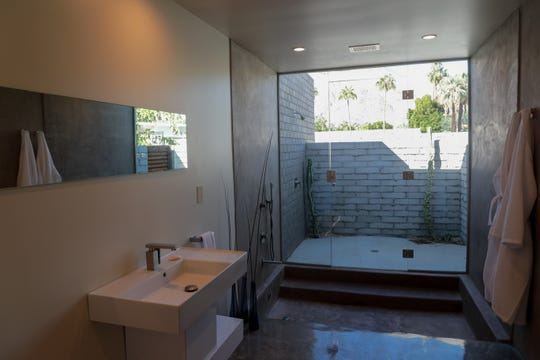 The newly restored bathroom of Albert Frey's Guthrie House in Palm Springs, Calif. is shown on Wednesday, October 16, 2019.