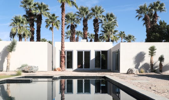 The newly restored exterior of Albert Frey's Guthrie House is shown in Palm Springs, Calif., in October 2019.