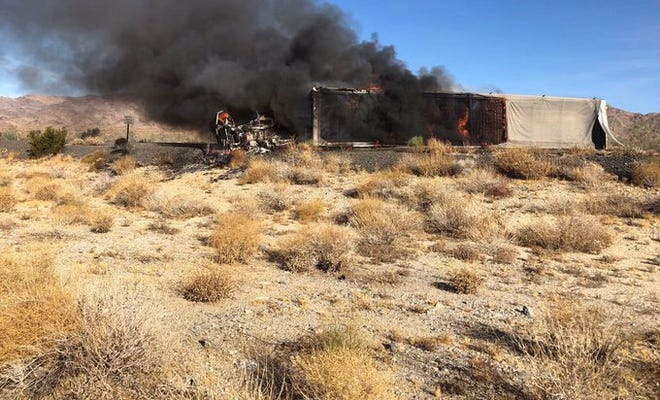 An overturned big rig on I-10 and Cottonwood Springs Road led to westbound lanes being closing Wednesday morning, Oct. 16, 2019.